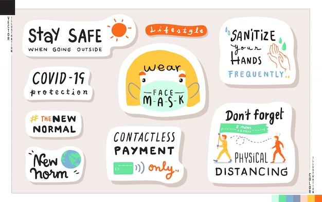 Set van nieuwe normale levensstijl belettering stickers. concept van nieuwe levensstijl bij het naar huis gaan. illustratie voor web, print, plakboek, kaart, etc. gezondheidszorg, coronavirus covid-19 bescherming.