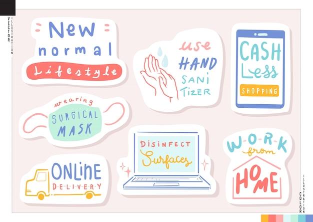 Set van nieuwe normale levensstijl belettering stickers. illustratie voor web, print, plakboek, kaart, etc. gezondheidszorg. wereldwijde virale pandemie. coronavirus (covid-19