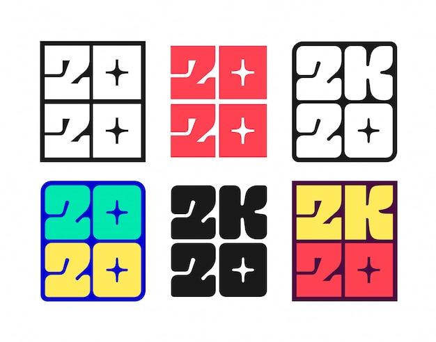 Set van nieuwjaar 2020 badges