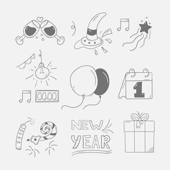 Set van nieuwjaarsfeest doodle icon