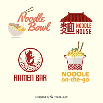 Set van noedels restaurant logo's