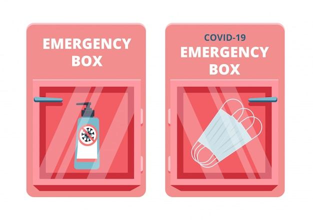 Set van nooddoos met gezuiverde gel en medische maskers in rood glasbreuk. tekort coronavirus fenomeen concept. covid-19-bescherming.