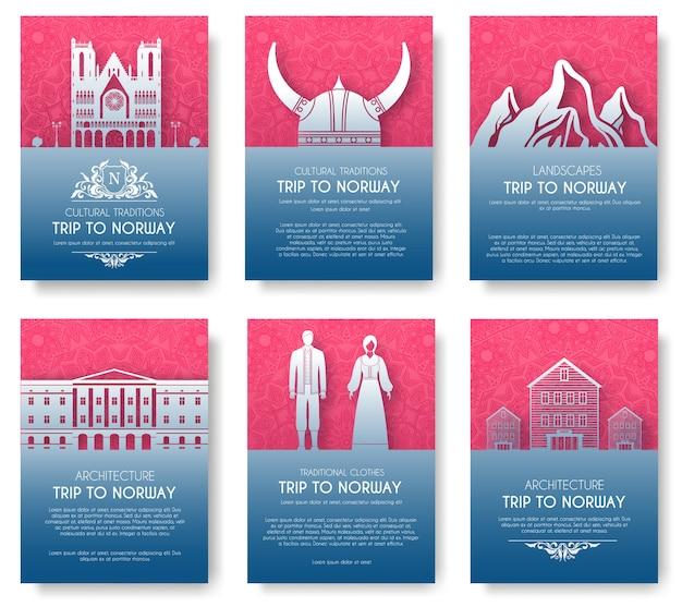Set van noorwegen land ornament illustratie concept