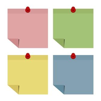 Set van notitie papier en pin.vector illustratie.