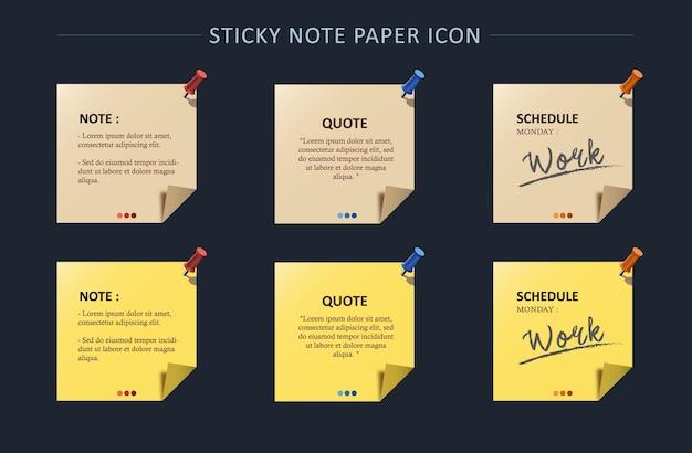 Set van notitiepapier met pin-kleur