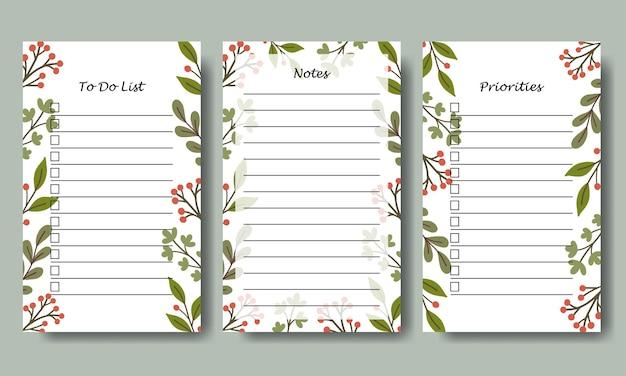 Set van notities en takenlijstsjabloon met handgetekende groene bladachtergrond vectorcollectie voor briefpapier