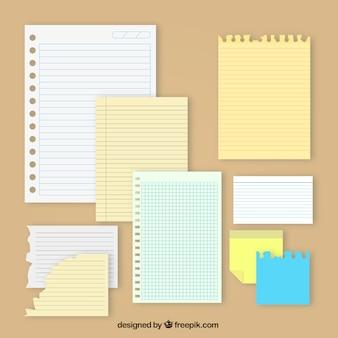 Set van notities met verschillende ontwerpen