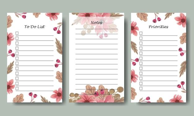 Set van notities takenlijst planner sjabloon met aquarel roze bloemen achtergrond