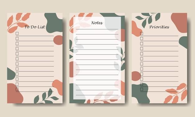 Set van notities te doen lijstsjabloon met abstracte vorm en bladachtergrond afdrukbaar