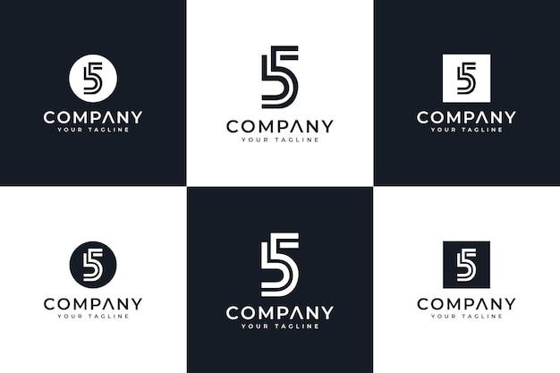 Set van nummer 5 creatief logo-ontwerp voor alle toepassingen