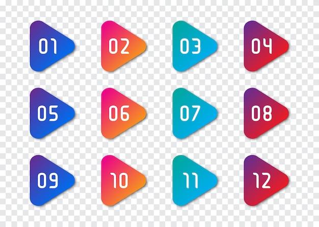 Set van nummer opsommingsteken 1 tot 12