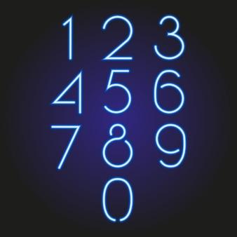 Set van nummers gloeiende neon blauw