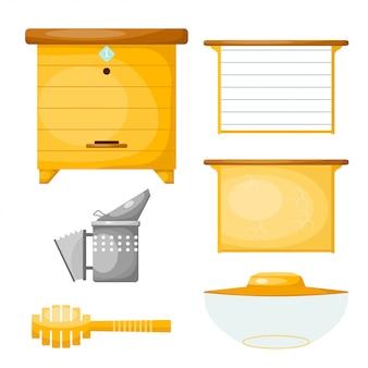 Set van objecten voor de productie van honing