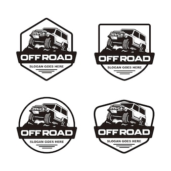 Set van off-road auto logo sjabloon