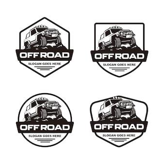 Set van off-road auto logo sjabloon