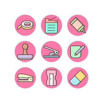 Set van office-pictogrammen op witte achtergrond vector geïsoleerde elementen