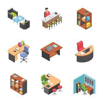 Set van office werkplekpictogrammen
