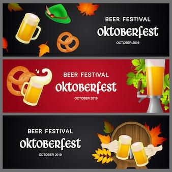 Set van oktoberfest bierfestival banners