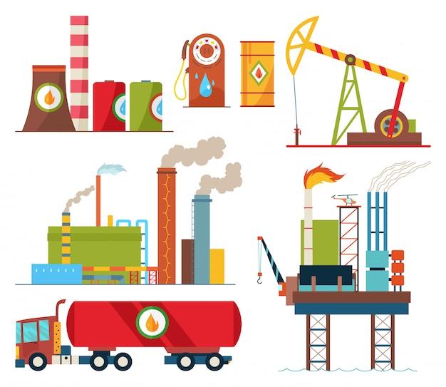 Set van olie-industrie extractie productie en transport van olie en benzine