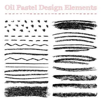 Set van olie pastel penseelstreken en ontwerpelementen