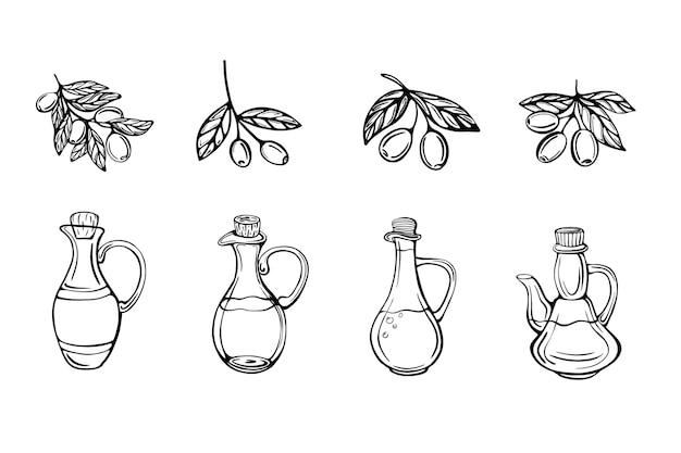 Set van olijfolie flessen geïsoleerd geïsoleerd op wit iilustration