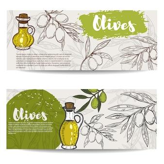 Set van olijfolie flyers. olijftak. elementen voor, flyer, poster. illustratie