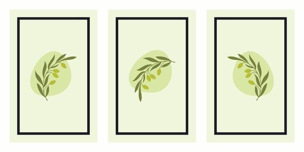 Set van olijftak art posters