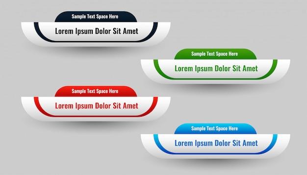 Set van onderste derde in vier kleuren