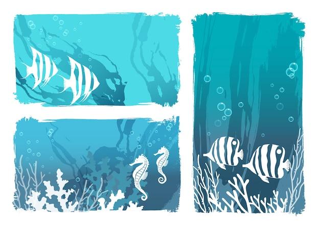 Set van onderzeese vector achtergrondillustraties met schelpdieren en koralen geïsoleerd