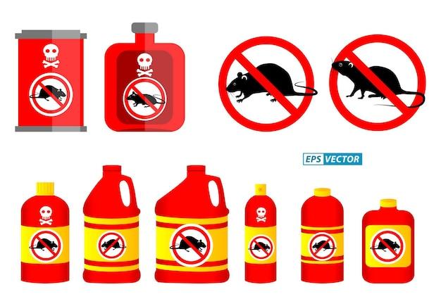 Set van ongediertebestrijding concept of verboden insect geïsoleerd