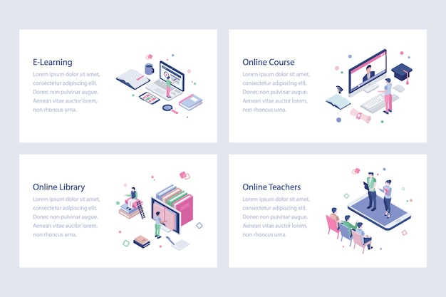 Set van online onderwijs illustraties