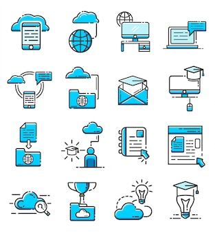 Set van online onderwijs pictogrammen