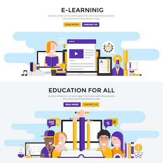 Set van online onderwijsillustraties