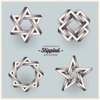 Set van onmogelijke vormen met gestippeld verloop.