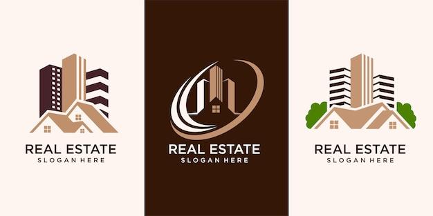 Set van, onroerend goed, bouw en constructie logo vector design
