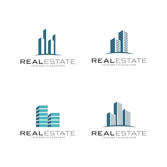 Set van onroerend goed logo, bouw en constructie