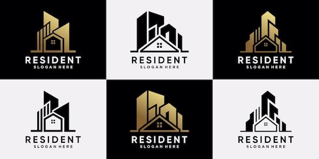 Set van onroerend goed logo ontwerpsjabloon met gouden stijl kleur en modern concept. pictogram logo voor zakelijk bedrijf premium vector