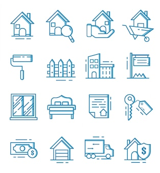 Set van onroerend goed pictogrammen met kaderstijl