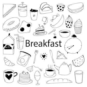 Set van ontbijt eten doodle vectorillustratie. ontbijt doodle achtergrond