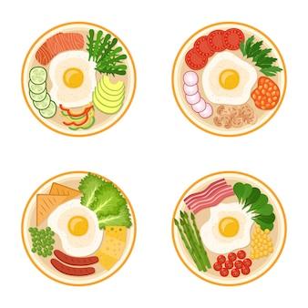 Set van ontbijt met gebakken eieren, groenen, groenten, spek, worstjes, zalm, kaas, bonen, vectorillustratie