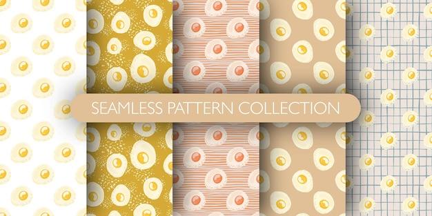 Set van ontbijt naadloos patroon met omelet ornament Premium Vector
