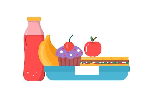 Set van ontbijt- of lunchmaaltijden. eten, drinken voor kinderen school lunchboxen met maaltijd, cupcake, sandwich, sap, snacks, fruit, groenten. vector collectie