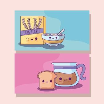 Set van ontbijtgranen met koffie en brood kawaii stijl