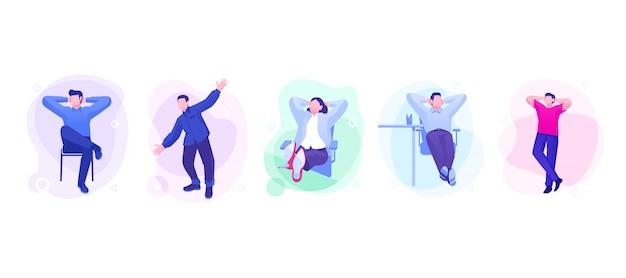 Set van ontspannen succes mensen