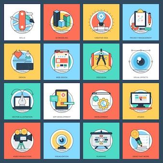Set van ontwerp en ontwikkeling platte vector iconen