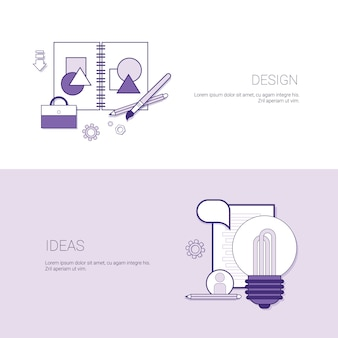 Set van ontwerpideeën banners bedrijfsconcept sjabloon