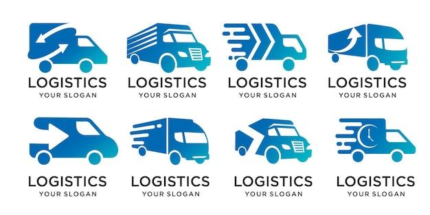 Set van ontwerpvrachtwagen, logistieke levering, snel verzendingslogo en ontwerpsjabloon voor visitekaartjes premium vector