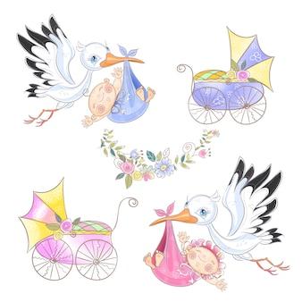 Set van ooievaar met baby