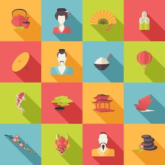 Set van oosterse iconen