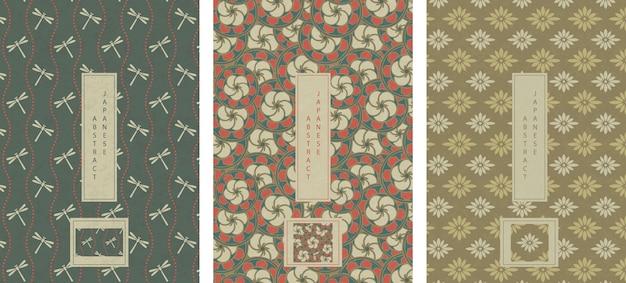 Set van oosterse japanse abstracte naadloze patroon